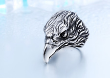 Eagle hawk stainless steel men s biker punk silver size jewelry heavy cool ring