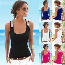UK Womens Ladies Summer Vest Top Sleeveless Blouse Casual Tank Tops T-Shirt 6-18