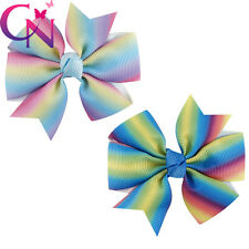 "2pcs Lot 3"" Candy Rainbow Pinwheel HairBow Grosgrain Ribbon Hair Clip For Girls"