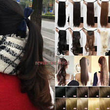 Drawstring Ponytail Straight Wave Clip in on Pony Tail Hair Extension Human Made