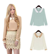 Long Sleeve Women Blouse Doll Collar Hot Fashion Chiffon Casual Sweet