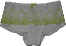 Ex M&S Marks & Spencer White Yellow Lemon lace Shorts Brief Knickers size 16 18