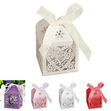 10/50/100Pcs Love Heart Favor Ribbon Gift Box Candy Boxes Wedding Party Romantic