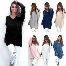 UK Plus Size Women V-Neck Solid Knitted Loose Casual Sweater Jumper Tops Outwear