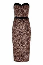 New Vintage Style Retro Pin Up Style Leopard Print Wiggle Dress Rockabilly