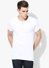 Levi's White Solid Henley T-Shirt