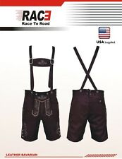 Oktoberfest Authentic Bavarian Lederhosen Suede Leather with Suspender Short