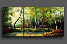 Framed HAND PAINTED FOREST SCENERY OIL PAINTING MODERN ABSTRACT WALL DECOR ART