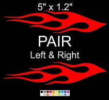 """5"""" x 1.2""""Any Color - FLAME pair Left Right CAR TRUCK AUTO VINYL DECAL STICKER f2"""