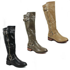 WOMENS LADIES BLOCK HEEL QUILTED BUCKLE FASHION KNEE HIGH BOOTS SHOES SIZE 3-8