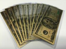 24 KARAT GOLD 100 DOLLAR USA NOTE-GREEN SEAL-EACH IN RIGID PVC BILL HOLDER MINT
