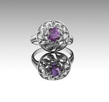 925 Sterling Silver Ring with Natural Amethyst Round Gemstone Handcrafted eBay.