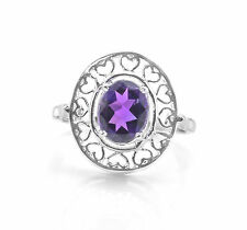 925 Sterling Silver Ring with Oval Cut Amethyst Natural Gemstone Handcrafted.