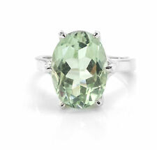 925 Sterling Silver Ring with Oval Green Amethyst Natural Gemstone Handcrafted.