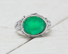 925 Sterling Silver Ring with Round Cut Natural Green Onyx Handmade in India.