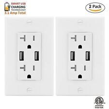 20AMP Safety Outlet Receptacle w/ Wall plate  2 USB Charger Socket Free Plate