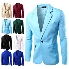 Mens Slim Fit One Button Outwear Business Casual Blazer Jacket Suit Basic Coat
