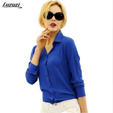 Women Top Shirt Blouse Casual Office Sleeve Long Ladies Loose Chiffon Buttons