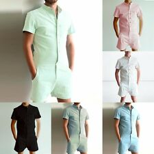 Mens Short Sleeve Jumpsuit Casual Cargo Pants Rompers One Piece Shorts Playsuits