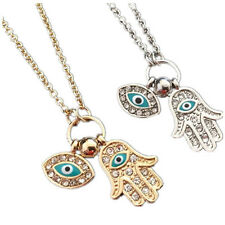 Men Women HAMSA Fatima HAND Evil Eye Crystal Bead Charm PENDANT CHAIN NECKLACE