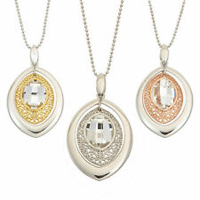 14K Gold, Rose Gold, or Rhodium Plated Silver Marquise Crystal Pendant Necklace