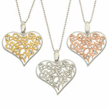 14K Gold, Rose Gold, or Rhodium Plated Silver Heart Crystal Pendant Necklace