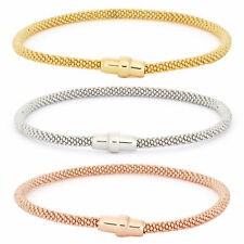 14K Gold, Rose Gold, or Rhodium Plated Silver Thick Mesh Chain Bangle Bracelet