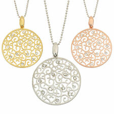 14K Gold, Rose Gold, or Rhodium Plated Silver Etched Crystal Pendant Necklace