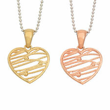 14K Gold, Rose Gold, or Rhodium Plated Silver Abstract Heart Pendant Necklace