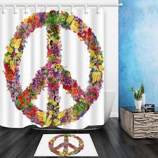 Floral Peace Sign Spring Summer Blooms Themed Shower Curtain & 12hooks 71*71inch