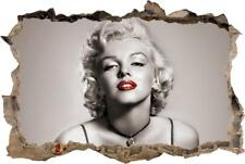 Marilyn Monroe Red Lips Smashed Wall 3D Decal Removable Wall Sticker H176