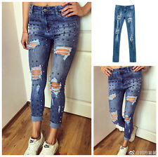 High Quality Womens Rivet Ripped Jeans New Hot Ladies Denim Destroyed Pants Good