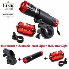 2X CREE Q5 Bike Bicycle Cycle Zoomable Front Torch 5 LED Rear Led Light Set UK