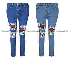 Ladies Denim Ripped Front Skinny Jeans Womens Fishnet Rose Embroidered Trousers