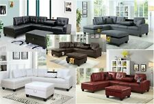 Brand New Pu Leather Living Room Sectional Sofa Set in Black/White with Ottoman