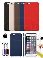 Apple iPhone 6 Plus - Leather Hard Back Case Cover, Mini Stylus & Tempered GLASS