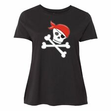 Inktastic Pirate Skull And Crossbones Women's Plus Size T-Shirt Pirates Red Ship