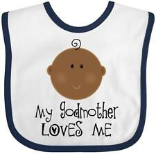Inktastic My Godmother Loves Me (ethnic) Baby Bib Godchild Gift From For New Hws
