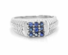 925 Sterling Silver Ring with Blue Sapphire Natural Gemstone Prong Settings eBay
