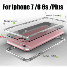 Aluminum Frame Metal Bumper Clear covers Coque phone case For iphone 6 6S 7 PLUS