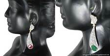 Earrings sets Red Green Zircon Stones Beautiful Indian Designer Bridal Jewelry