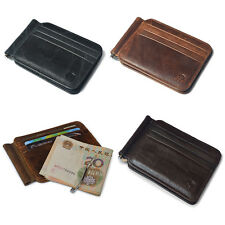 Luxury Men's Genuine Leather Wallet Cowhide Money Clip Credit Card Holder Purse