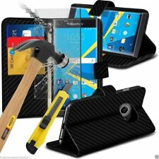 Leather Book Wallet Phone Case Cover+Glass Screen Protector for Blackberry