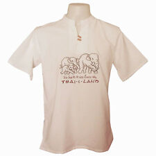 Mens T-Shirt 100% Cotton White Thai Elephant Family Hippie Boho Shirt M L XL 2XL
