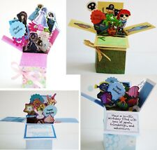 Handmade Birthday greeting card in pop up exploding box card-Free ship USA