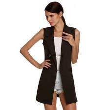 Meaneor Stylish Ladies Women Casual Sleeveless Lapel Pocket Solid Vest GDY7