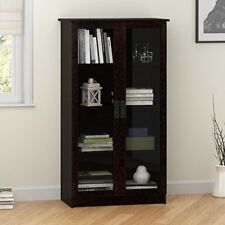 Bookcase With Glass Doors Home Furniture Cabinet 4 Shelves Espresso Antique Styl