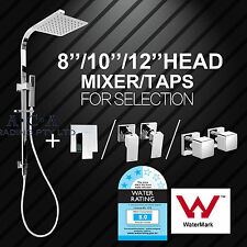 ACA 200 250 300MM Square Twin Shower Head Handheld Sliding Rail Mixer/Dual Taps
