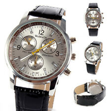 New Unisex Synthetic Leather Wrist Watch Stainless Steel Sports Quartz Watch V75