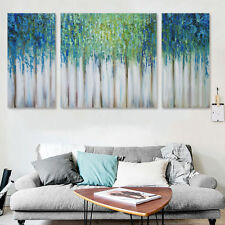 3Pcs Framed Blue Memory Tree Abstract Art Oil Painting Canvas Print Home Decor